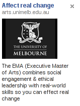 University of Melbourne Executive Master of the Arts Facebook Advertisment